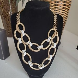 White Beaded Link Necklace